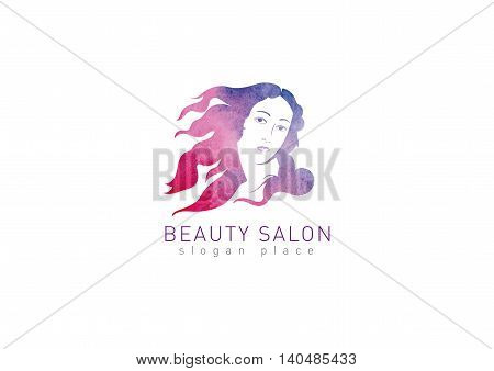 Logo for the beauty salon. Girl with flying hair
