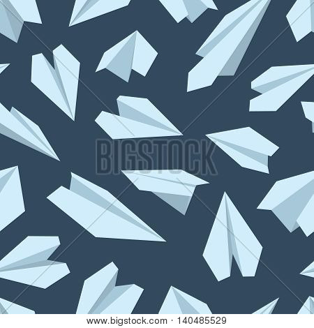vector seamless pattern with Origami plane collection. Handmade paper plane isolate on dark background