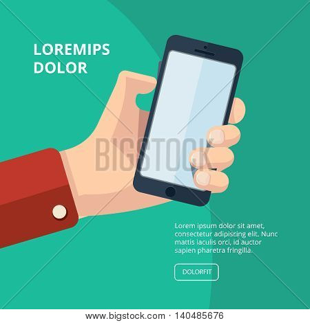 vector illustration of hand with smartphone. finger on buttons which increase loudness. Picture with place for your personal design on the screen. Isolate on dark background.