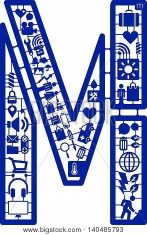 Assemble icon model kit form the font -M