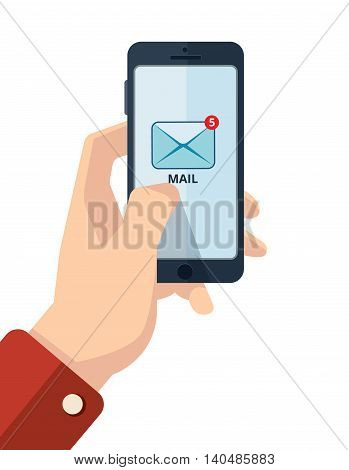 vector illustration of hand with smartphone. finger on the mail icon. Picture with place for your personal design. Isolate on white background.
