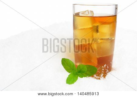 Ice Tea With Ice Cubes,mint On Ice On White
