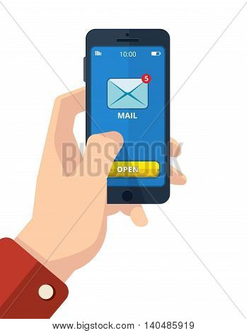 vector illustration of hand with smartphone. finger on the mail icon. Picture with place for your personal design. Isolate on light background.