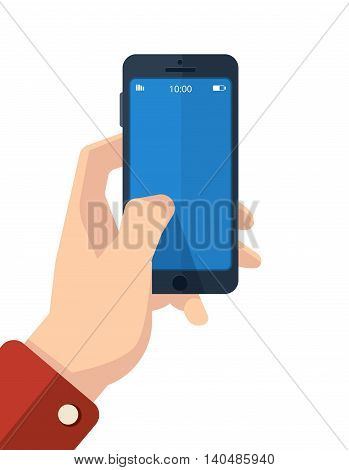 vector picture of hand with smartphone. finger on the clean screen with place for your personal design. Isolate on white background.