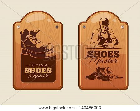Vector illustration of advertisement wood panels for shoes repair workshop. Pictures with place for your text