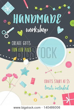 Handmade Tutorials and Workshops Banner. Arts, Crafts and Tools Flat Vector Illustration.