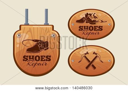 Vector illustration of advertisement wood panels for shoes repair workshop. Picture isolate on light background
