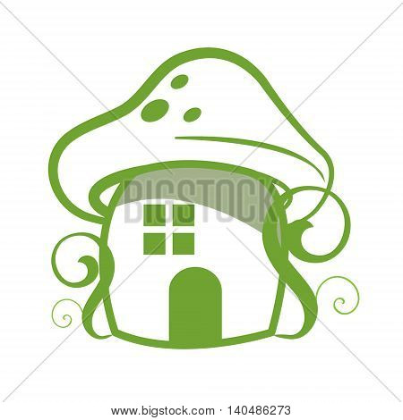 Mushroom house fantasy farytale -isolated on the white background
