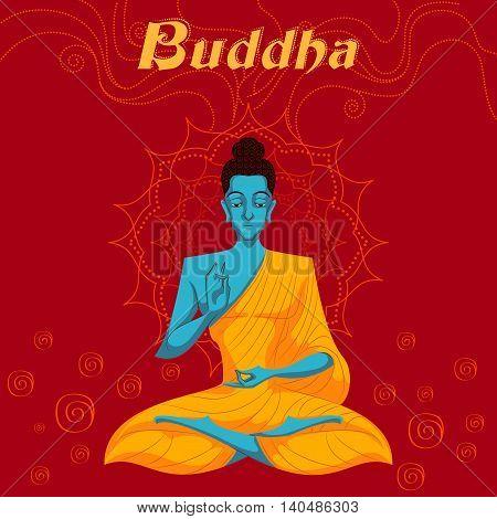 Indian God Buddha in meditation. Vector illustration