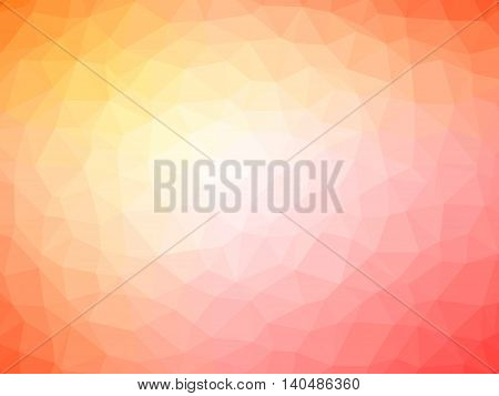 Abstract red orange pink gradient polygon shaped background.