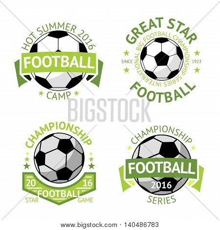 Vector set of green vintage Football labels.