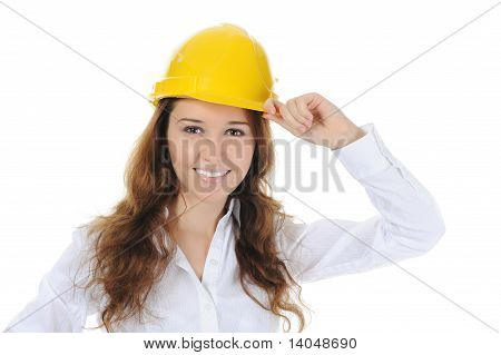 woman with construction helmet