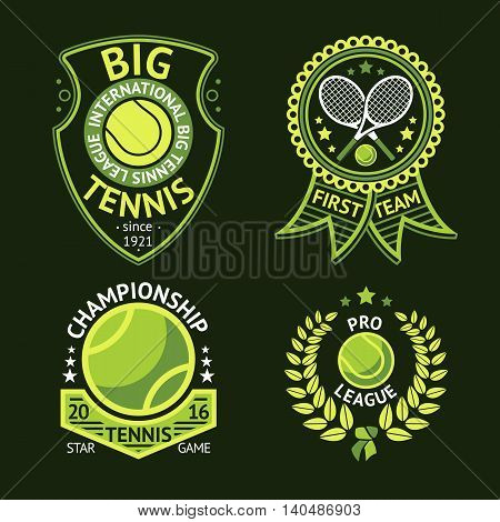 Set of old style Tennis Labels with ball and rackets. Vector illustration