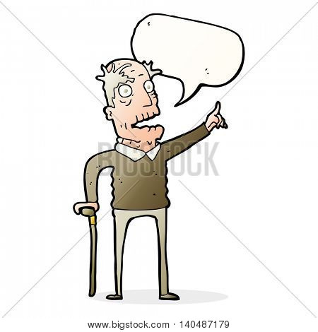 cartoon old man with walking stick with speech bubble