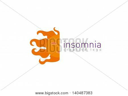 Creative logo on insomnia, the month and the sun