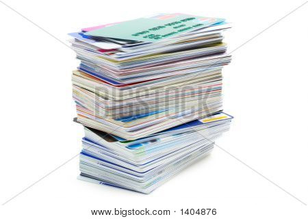 Stack Of Credit Cards (Isolated On White)