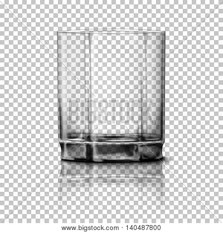 Transparent realistic Vector glass isolated on plaid background with reflection, for design and branding.
