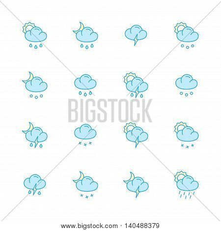 weather color flat icons set of 16
