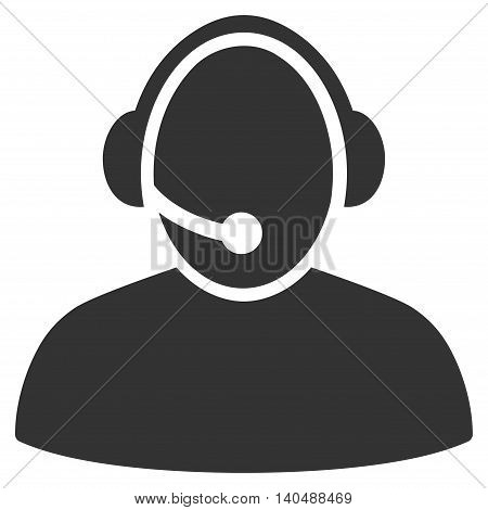 Call Center icon. Vector style is flat iconic symbol with rounded angles, gray color, white background.