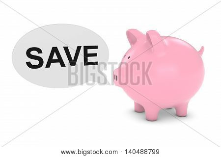 Piggy Bank With Save Text Speech Bubble 3D Illustration
