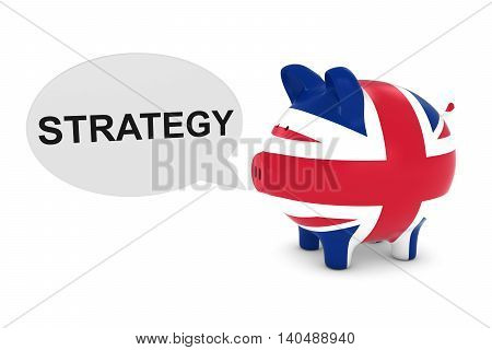 Uk Flag Piggy Bank With Strategy Text Speech Bubble 3D Illustration