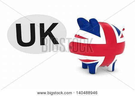 Uk Flag Piggy Bank With Uk Text Speech Bubble 3D Illustration