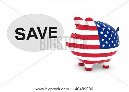 Us Flag Piggy Bank With Save Text Speech Bubble 3D Illustration