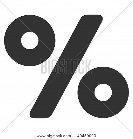 Percent icon. Vector style is flat iconic symbol with rounded angles, gray color, white background.
