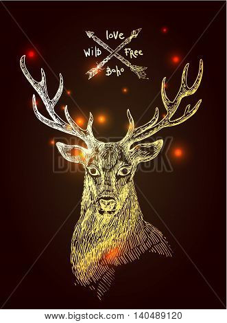 Beautiful hand drawn vector illustration sketching of gold deer. Boho style drawing. Use for postcards, print for t-shirts, posters.