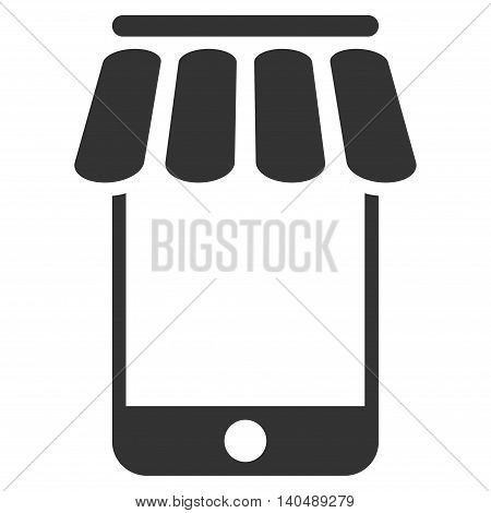 Webstore icon. Vector style is flat iconic symbol with rounded angles, gray color, white background.