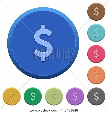 Set of round color embossed Dollar sign buttons