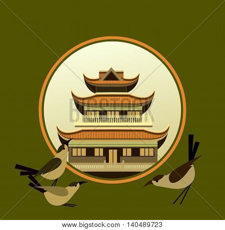 vector illustration of an old Buddhist temple in a circular shape on a green background decorated with birds