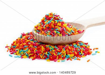 Sugar colorful sprinkles decoration for cake isolated on white background