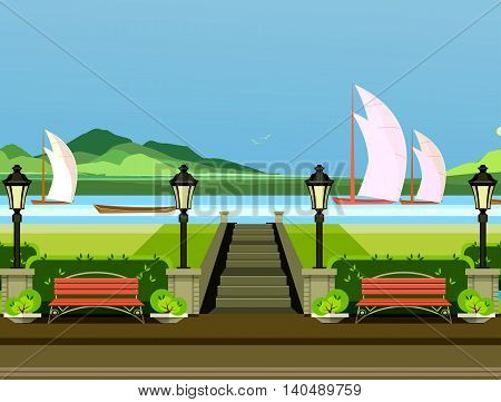 vector illustration of a park with benches on the shore of the river sail sailboats