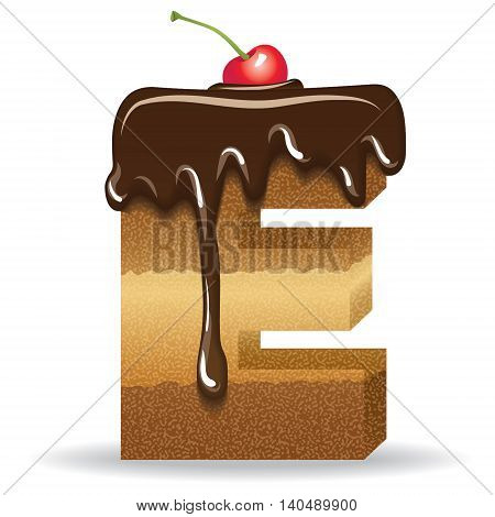 Cake letter with chocolate topping and cherry on top