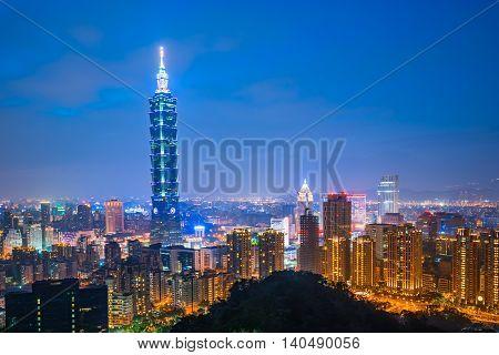 Taipei City Skyline At Night In Taiwan