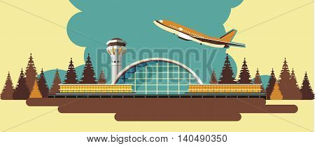 vector illustration of the airport building on nature background in retro style and colors of the horizontal composition