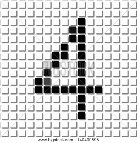 Four. Simple Geometric Pattern Of Black Squares In Number Four