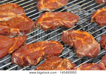 Looking over a charcoal grill with grilled meat