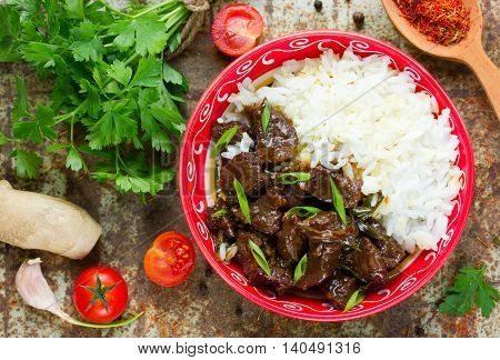 Meat beef in soy sauce garlic and ginger. Eastern cuisine. Mongolian meat top view