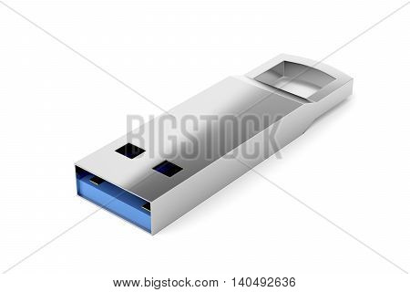 Capless flash drive on white background, 3D illustration
