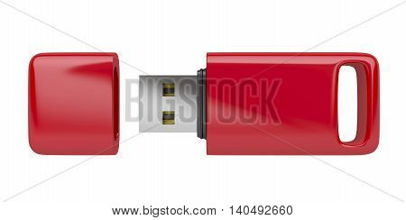Red usb stick isolated on white background, 3D illustration