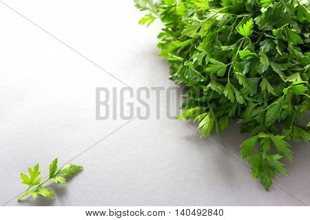 Bunch Of Fresh Organic Parsley On A Wooden Table