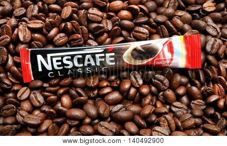 Kiev, Ukraine - June 27, 2016: Nescafe is a brand multinational food and beverage company, first introduced on April 1, 1938.