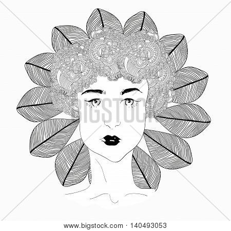 Vector girl with abstract flower garland on the head with leaves mandala. Uncolored contour pattern. Can be used as adult coloring book, card, invitation, t-shirt print. young pretty girl with doodle hairs.