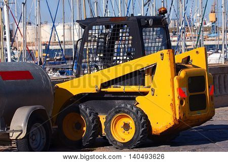 a small front-end loader at the port