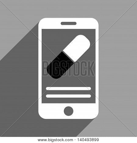 Medical Pill Mobile Description long shadow glyph icon. Style is a flat black and white symbol on a gray square background. Dark-gray shadow is directed to left-down.