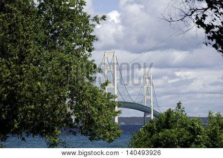 Mackinac Bridge in Michigan During the Summer.
