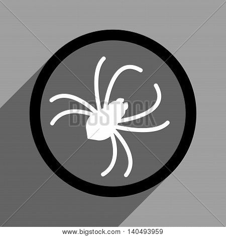 Spider long shadow glyph icon. Style is a flat black and white symbol on a gray square background. Dark-gray shadow is directed to left-down.