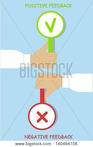 Positive feedback and negative feedback typography banner, hands with a cross and a tick, vector illustration